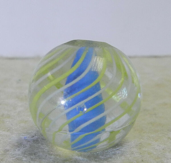 #12837m Vintage German Handmade Caged Blue Solid Core Swirl Marble .70 In $40.49