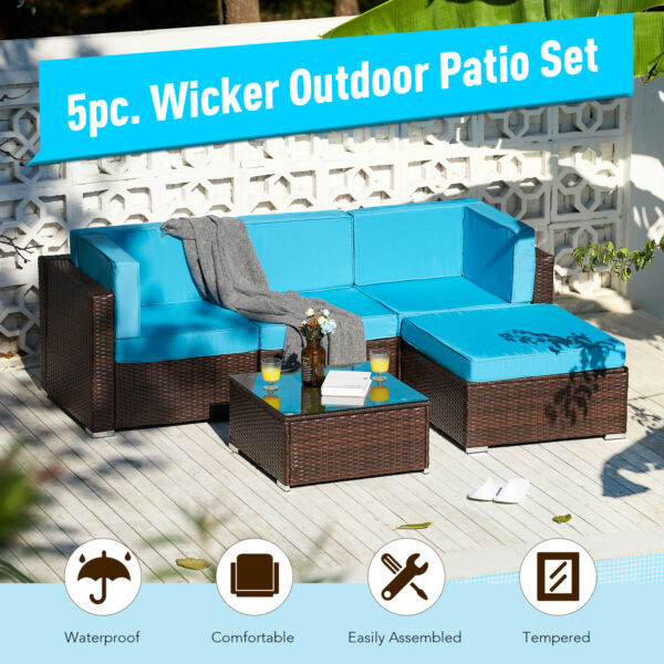 5pc Outdoor Furniture Set Sectional Sofa Table for Yard Patio More Walnut $397.79