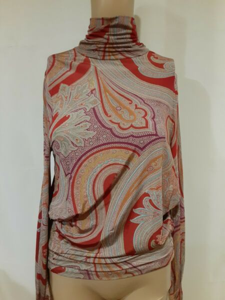Etro Women#x27;s Nylon Blend Paisley Turtleneck Pleated Detail Size IT 44 US 10 $75.00