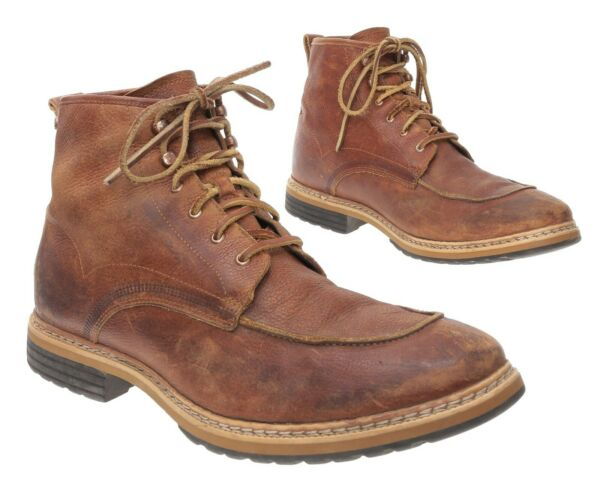 Vintage TIMBERLAND Work Boots 11.5 M Mens Brown Leather Moc Toe Boots Motorcycle $59.99