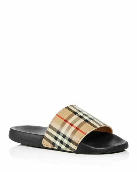 NIB Burberry Men#x27;s Furley Vintage Check Slide Sandals $350.00