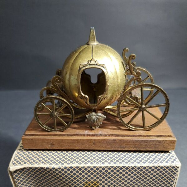 Vintage Brass Pumpkin Carriage on Wood Cinderella Made in Italy 3 7 8quot; x 1 7 8quot;