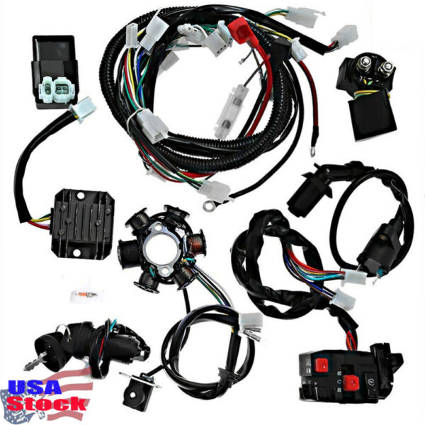 9Pcs GY6 125 150cc Quad Scooter Buggy Electric Wiring Harness Kit Magneto Stator $39.99