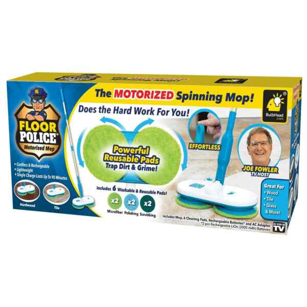 Original As Seen On TV Floor Police Motorized Spin Mop by BulbHead Cordless Mop $59.99