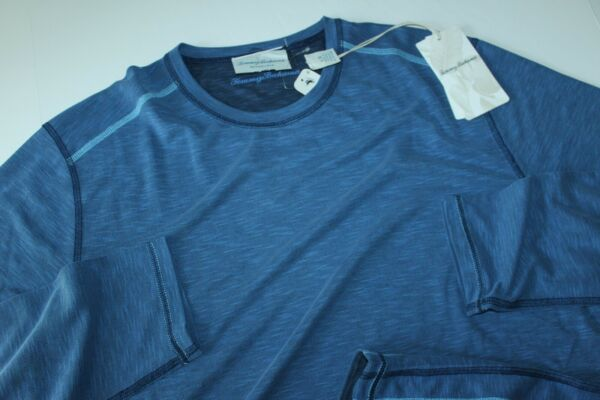 Tommy Bahama T Tee Shirt Flip Tide Reversible Galaxy Blue New LS Large L $39.95