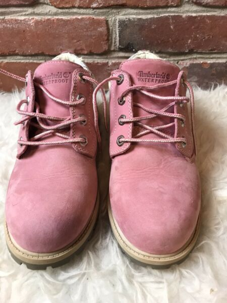 Timberland Pink Boots Waterproof Leather Ankle Booties Size 8 $28.99