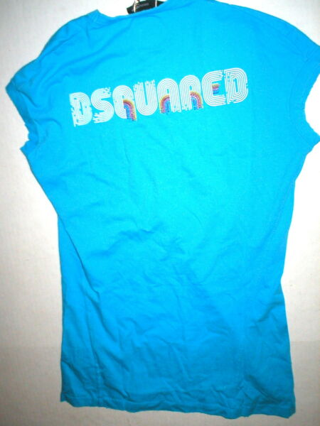 New Womens DSquared2 Top Tee L Blue Logo Vintage Look NWT Rainbow Designer Italy $262.00