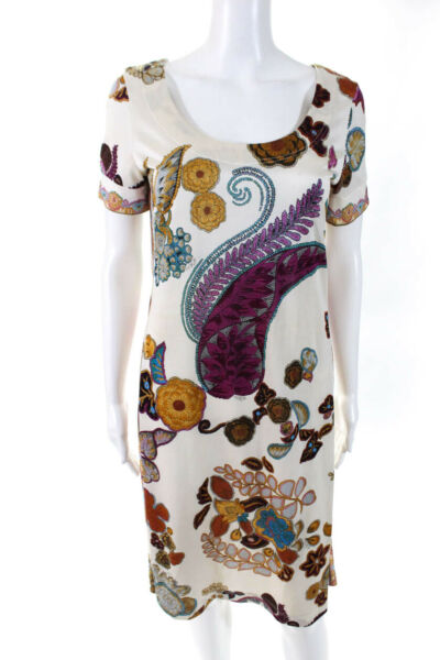 Etro Womens Short Sleeve Scoop Neck Paisley Floral Dress White Brown Size IT 42 $87.01