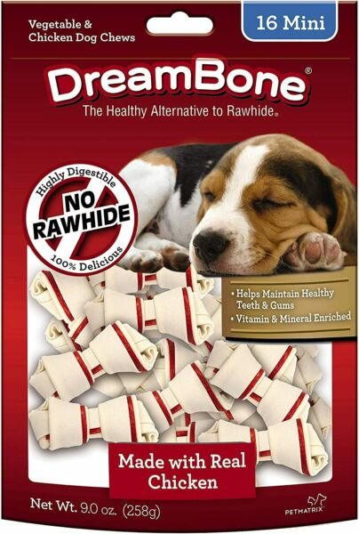 DreamBone Mini Bones Rawhide Free for DogsDog Chews Made with Real Chicken 16ct $8.99