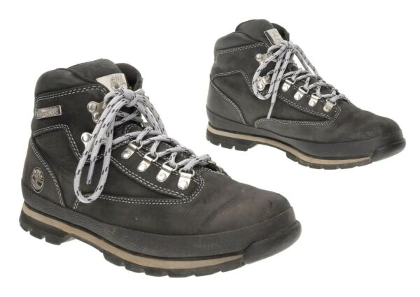 TIMBERLAND Hiking Boots 8 M Men Black Leather WATERPROOF Hiker Shoes Boots $59.99