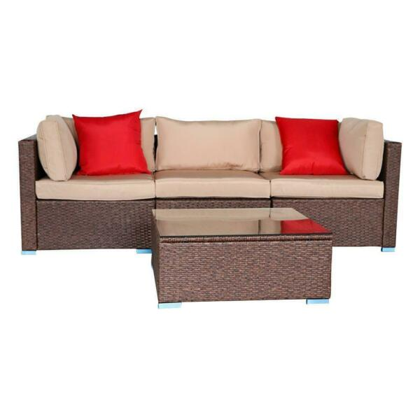 4 PCS Outdoor Furniture Sectional Sofa Set Rattan Wicker Cushioned Couch W Table $332.79