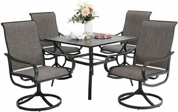 Outdoor Furniture Sets of 5 Patio Swivel Rocking Chair Square Metal Tables Black $599.99