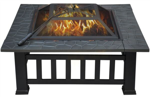 32#x27;#x27; Outdoor Square Fire Pit Metal Barbecue Includes Cover