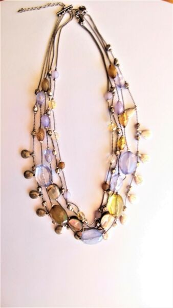 Vintage 4 strand NECKLACE Amethyst Abalone Stones Beads Silver Tone