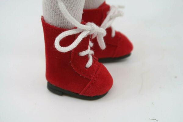 Monique Lace up Boots Shoes for Boneka Dianna Effner dolls 38mm Red Suede