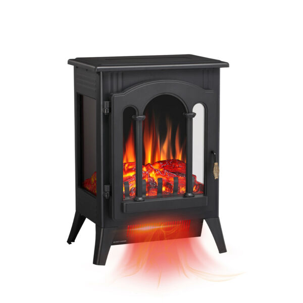 Electric Fireplace Heater Freestanding Infrared Stove Heater 3D Flame Portable