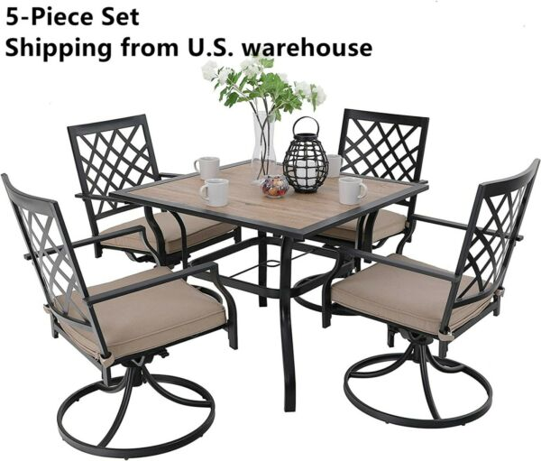 5 Piece Outdoor Furniture Set Patio Swivel Chairs With Cushion Square Table $600.00