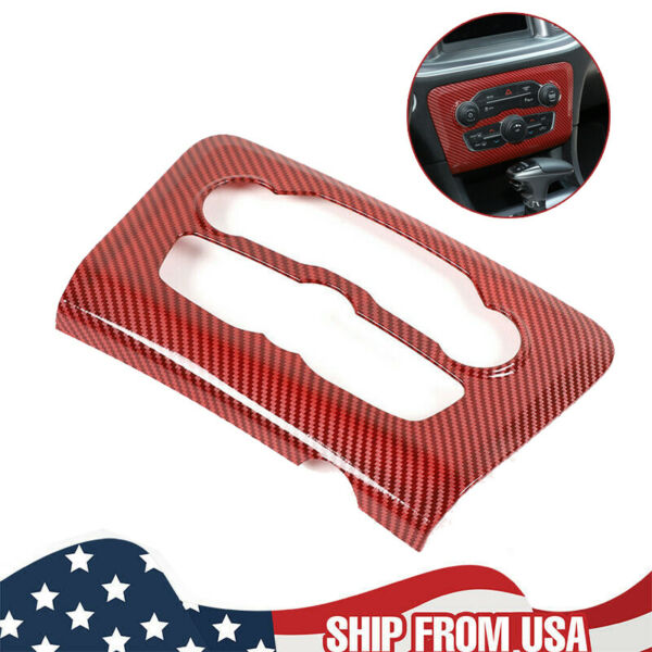 Radio AC CD Switch Panel Trim Cover for 2015 2020 Dodge Charger Red Carbon Fiber $34.63