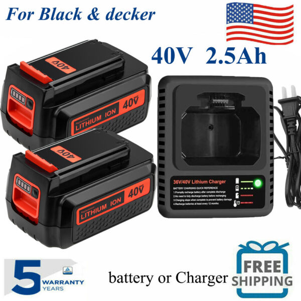 MAX LITHIUM BATTERY FOR BLACK AND DECKER 40 VOLT LBX2040 LBXR36 LSW36 OR CHARGER