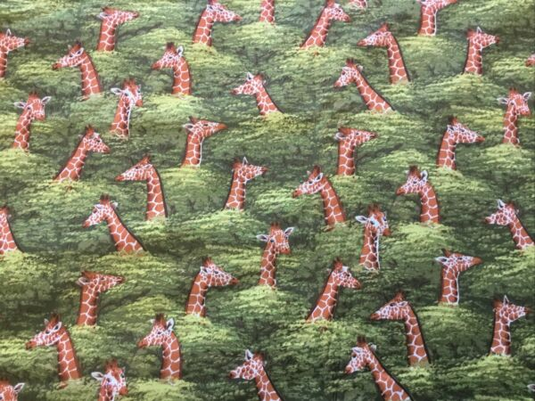 Giraffes Standing Above Tree Tops Hancock Fabric Cotton 84quot; X 44""