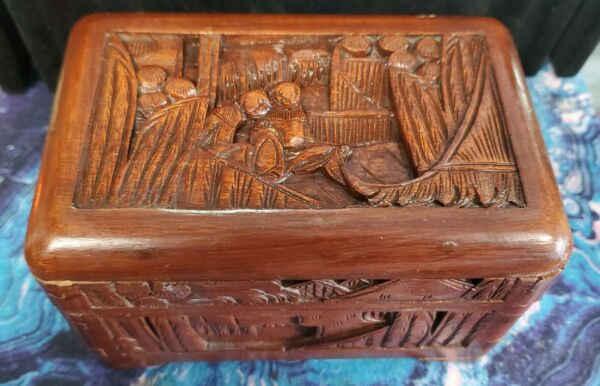 Beautiful Vintage Black Forest Style Hand Carved Wooden Jewelry Trinket Box