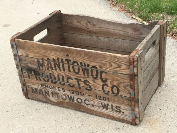 Brewery Wooden Beer Crate quot;Manitowoc Products Coquot; Closed 1933 Wisconsin Wood Box