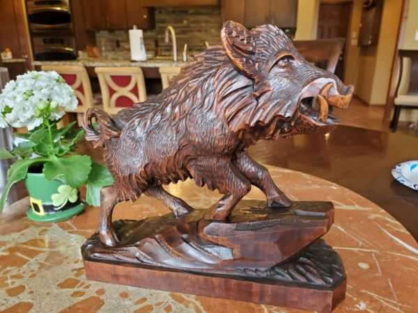 Antique Black Forest Wild Boar Sculpture Fine Hand Carved In Hard Wood. 9quot;x9quot;x3quot;
