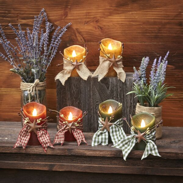 Primitive Country Star LED Candles with Ribbon Wrap Set of 2 $19.98
