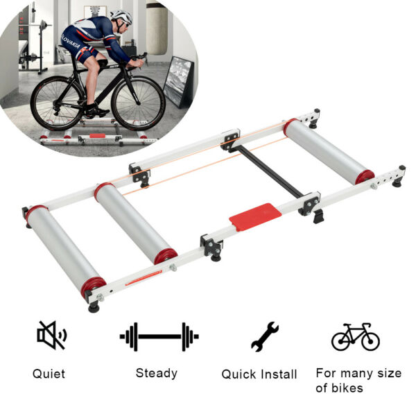 Mountain Bike Bicycle Roller Trainer Two Wheels Speed Trainer Exercise Stand $88.79