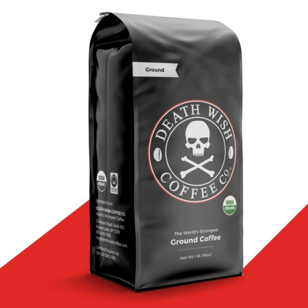 Death Wish Coffee Worlds Strongest Coffee Fair Trade Organic : 1 lb Ground