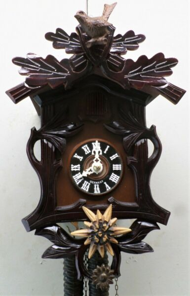RARE GERMAN SUNFLOWERS amp; BIRD BLACK FOREST DEEPLY CARVED UNUSUAL CUCKOO CLOCK
