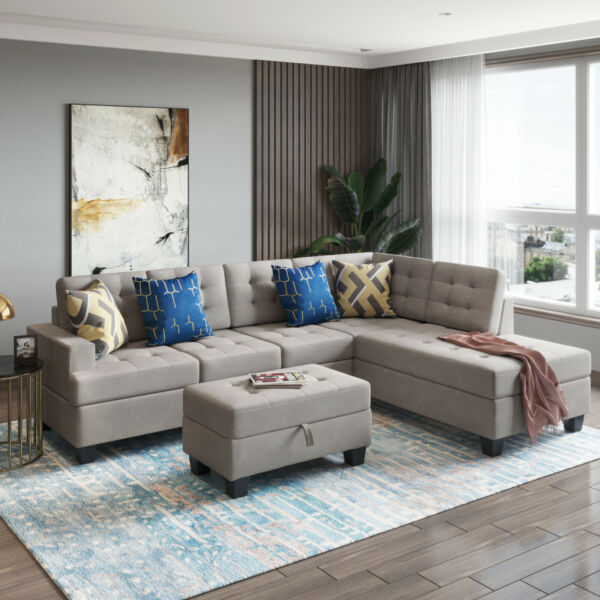 Living Room Furniture Sectional Sofa with Chaise Lounge&Storage L Shape Couch $1064.19