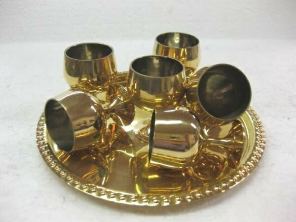 New Mini small Brass Wine Goblet cups with tray miniature