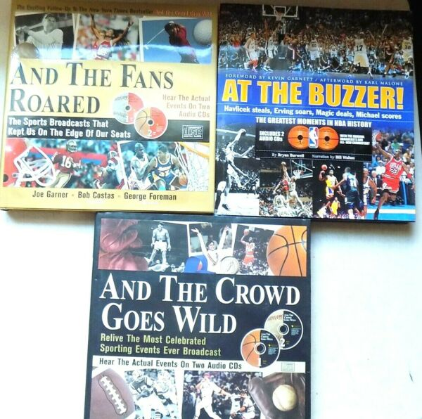 3 Sports Coffee Table Books With Audio CDs NBA NFL MLB Sporting Events Etc