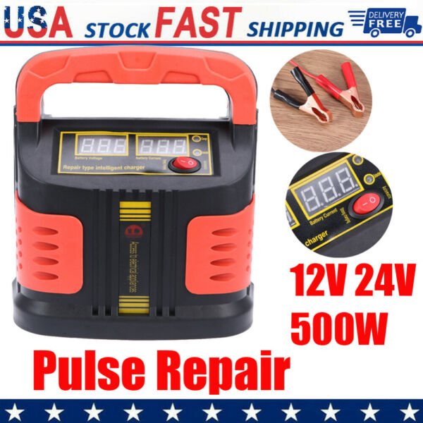 500W Smart Car Battery Storage Charger Pulse Repair 12V 24V Charging Heavy Duty $29.99