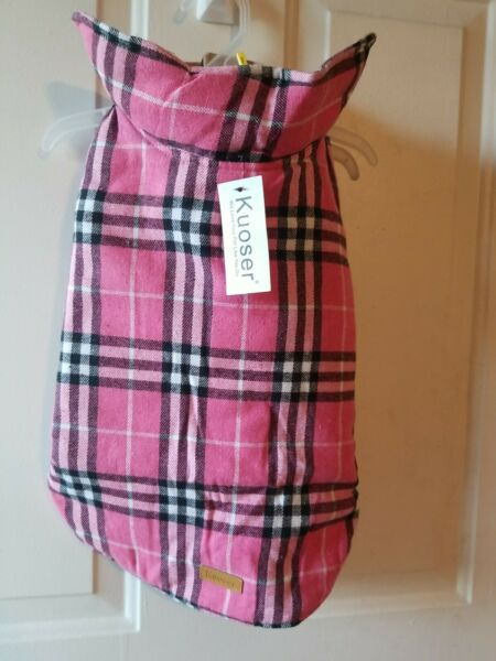 Kuoser Dog Waterproof Windproof Cold Weather Jacket Vest Large Pink Plaid $13.49