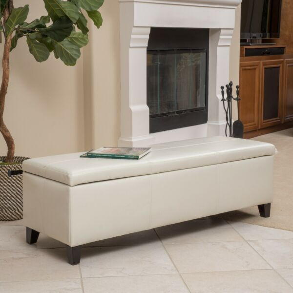 Large Storage Bench Ottoman Coffee Table End of Bed Faux Leather Ivory