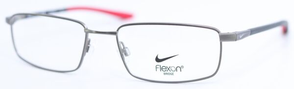 NIKE with Flexon Bridge 4301 073 Brushed Gunmetal Gym Red Eyeglasses 54 18 140