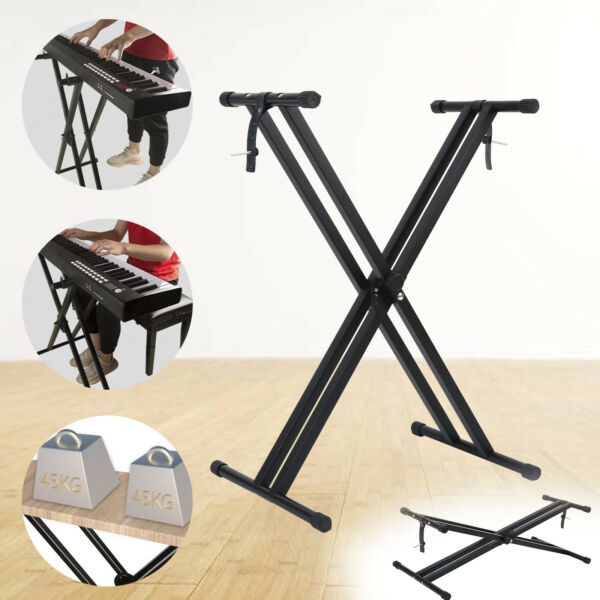 Premium X Stand Dual Keyboard Stand Electronic Piano Double Stand Folding Samger $28.26