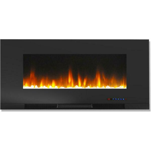 42quot; Wall Mount Electric Fireplace Black Multi Color Flame Crystal Rock Display