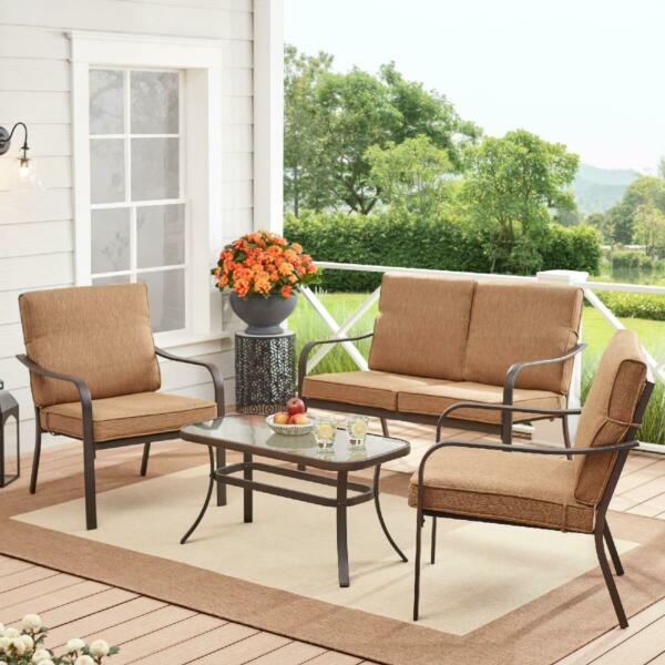 4 Piece Patio Dining Set Outdoor Table Chairs Garden Furniture Brown Yard Lawn $345.88