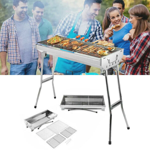 Stainless Steel BBQ Grill Portable Folding Grill Stove Home Outdoor 2 4 person