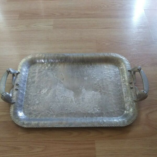 Vintage Trade Continental Hand Wrought quot;Deer amp; Geesequot; Aluminum Tray