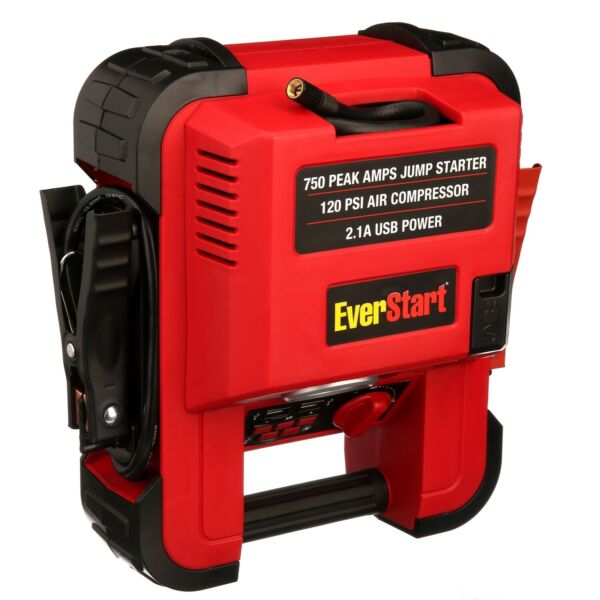 Auto Battery Jump Starter Air Compressor 750 Peak Amps Portable Car SUV Charger $43.79