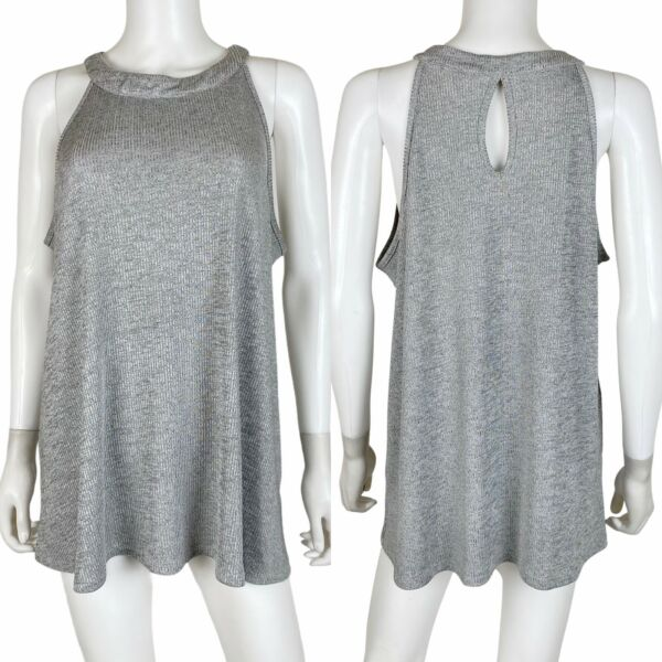 Torrid Size 1 Tank Top High Neck A Line Silver Ribbed Knit Sleeveless $18.86