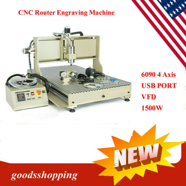 USB 4 axis 6090 1500W cnc router engraver engraving carving milling machine $1913.09