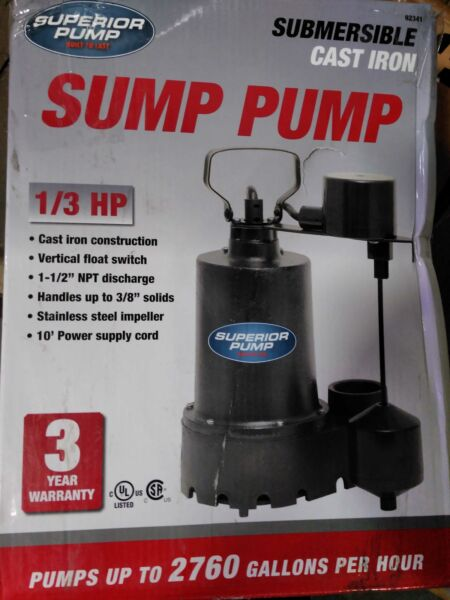 1 3 HP Submersible Cast Iron Sump Pump by Superior Pump $86.75