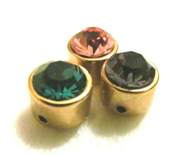 UNUSUAL LOT 3 COLORFUL CRYSTAL SMALL GOLD SLIDE CHARMS $25.00