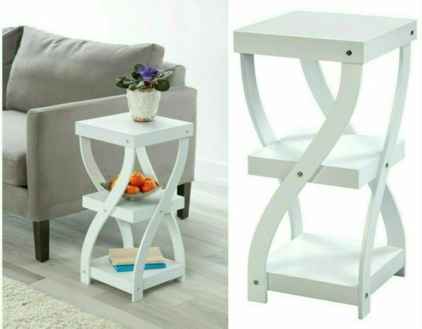 Twisted Side Table White Wood 3 Tier Sofa Modern Table Home Office $58.99