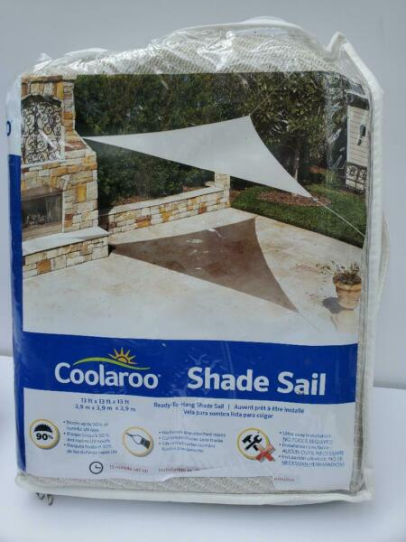 Coolaroo shade Sail 13 x 13 x 13. 73 sq ft coverage Brand New Color Pebble $24.88